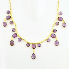 50.54cts natural purple amethyst 925 sterling silver 14k gold necklace p74982