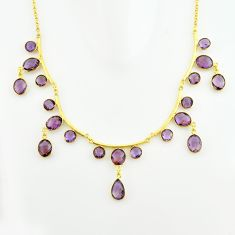 52.16cts natural purple amethyst 925 sterling silver 14k gold necklace p74983