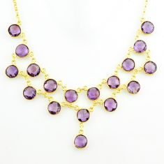 45.53cts natural purple amethyst 925 sterling silver 14k gold necklace p75019