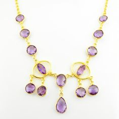 32.71cts natural purple amethyst 925 sterling silver 14k gold necklace p75035