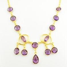31.86cts natural purple amethyst 925 sterling silver 14k gold necklace p75037