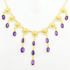 27.05cts natural purple amethyst 925 sterling silver 14k gold necklace p75044