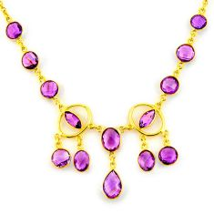 41.13cts natural purple amethyst 925 sterling silver 14k gold necklace p91681