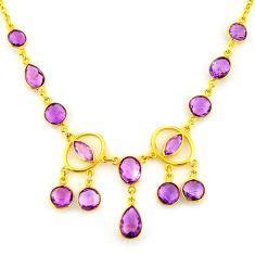 41.13cts natural purple amethyst 925 sterling silver 14k gold necklace p91683