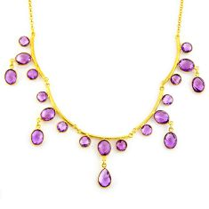 51.74cts natural purple amethyst 925 sterling silver 14k gold necklace p91707