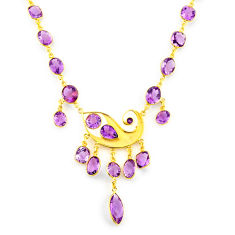 55.86cts natural purple amethyst 925 sterling silver 14k gold necklace p91714