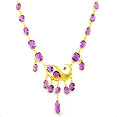 58.00cts natural purple amethyst 925 sterling silver 14k gold necklace p91718