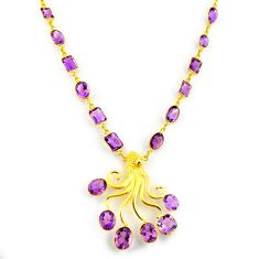 63.53cts natural purple amethyst 925 sterling silver 14k gold necklace p91723