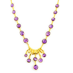 56.73cts natural purple amethyst 925 sterling silver 14k gold necklace p91733