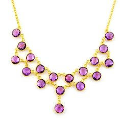 44.88cts natural purple amethyst 925 sterling silver 14k gold necklace p91743