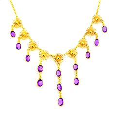 29.39cts natural purple amethyst 925 sterling silver 14k gold necklace p91753