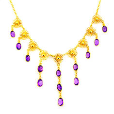 28.99cts natural purple amethyst 925 sterling silver 14k gold necklace p91754