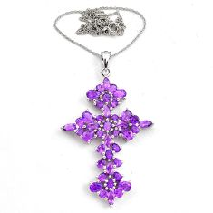 12.04cts natural purple amethyst 925 sterling silver cross necklace c4659