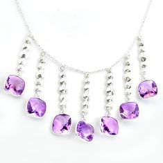 30.91cts natural purple amethyst 925 sterling silver necklace jewelry p43308