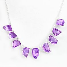 44.49cts natural purple amethyst 925 sterling silver necklace jewelry p43761