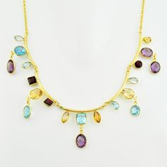 53.28cts natural purple amethyst citrine topaz silver 14k gold necklace p74988