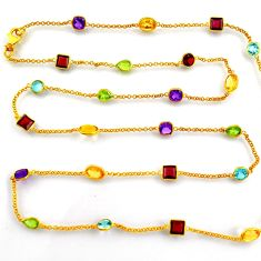 35.53cts natural purple garnet 925 silver 14k gold 35inch chain necklace p91662