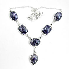 59.74cts natural purple lepidolite 925 sterling silver necklace jewelry p69685