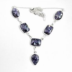 62.58cts natural purple lepidolite 925 sterling silver necklace jewelry p69686