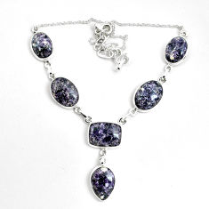 53.42cts natural purple lepidolite 925 sterling silver necklace jewelry p69687