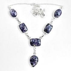53.42cts natural purple lepidolite 925 sterling silver necklace jewelry p69688
