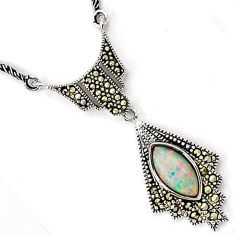 NATURAL RAINBOW AUSTRALIAN OPAL MARCASITE 925 SILVER CHAIN NECKLACE H20994