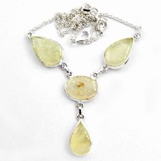 37.88cts natural rainbow libyan desert glass 925 silver necklace jewelry p89016