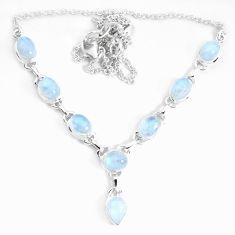 18.23cts natural rainbow moonstone 925 sterling silver necklace jewelry p34719