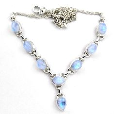 18.82cts natural rainbow moonstone 925 sterling silver necklace p89079