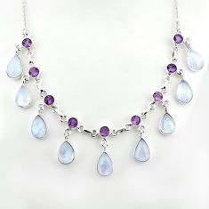 47.54cts natural rainbow moonstone amethyst 925 sterling silver necklace p81496