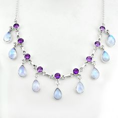 42.57cts natural rainbow moonstone amethyst 925 sterling silver necklace p81497