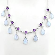 50.71cts natural rainbow moonstone amethyst 925 sterling silver necklace p81499