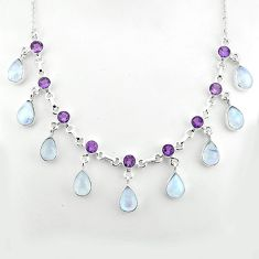 43.00cts natural rainbow moonstone amethyst 925 sterling silver necklace p81500