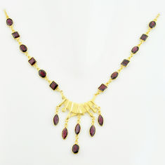 36.55cts natural red garnet 925 sterling silver 14k gold necklace jewelry p74933
