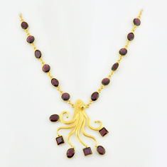38.46cts natural red garnet 925 sterling silver 14k gold necklace jewelry p74958