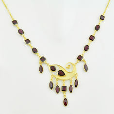 40.87cts natural red garnet 925 sterling silver 14k gold necklace jewelry p74975