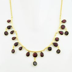 50.08cts natural red garnet 925 sterling silver 14k gold necklace jewelry p74995