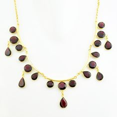 57.93cts natural red garnet 925 sterling silver 14k gold necklace jewelry p74997