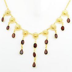24.77cts natural red garnet 925 sterling silver 14k gold necklace jewelry p75002