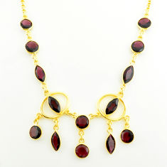 21.22cts natural red garnet 925 sterling silver 14k gold necklace jewelry p75021