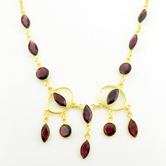 21.91cts natural red garnet 925 sterling silver 14k gold necklace jewelry p75022
