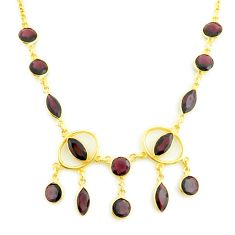22.54cts natural red garnet 925 sterling silver 14k gold necklace jewelry p75024