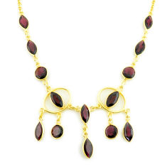22.54cts natural red garnet 925 sterling silver 14k gold necklace jewelry p75025