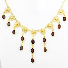 26.66cts natural red garnet 925 sterling silver 14k gold necklace jewelry p75057