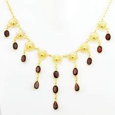 27.86cts natural red garnet 925 sterling silver 14k gold necklace jewelry p75059