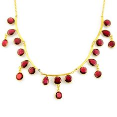 51.19cts natural red garnet 925 sterling silver 14k gold necklace jewelry p91709