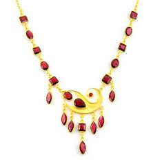 40.54cts natural red garnet 925 sterling silver 14k gold necklace jewelry p91713