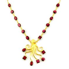 41.42cts natural red garnet 925 sterling silver 14k gold necklace jewelry p91726