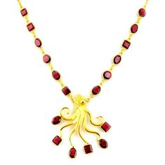 41.42cts natural red garnet 925 sterling silver 14k gold necklace jewelry p91728