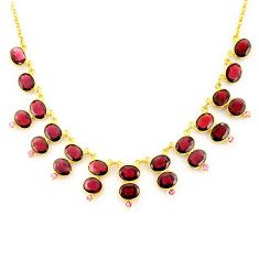53.56cts natural red garnet 925 sterling silver 14k gold necklace jewelry p91766